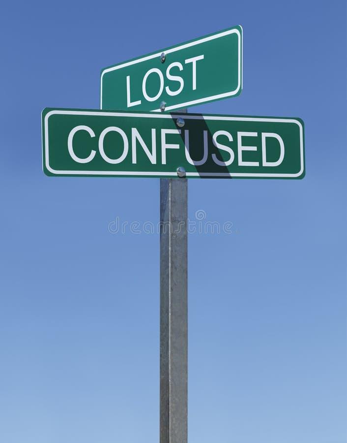 Signe confus perdu image stock
