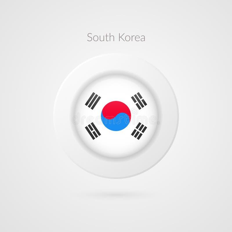 Signe coréen de drapeau de vecteur Symbole d'isolement de cercle de la Corée du Sud Icône d'illustration de pays asiatique pour l illustration stock