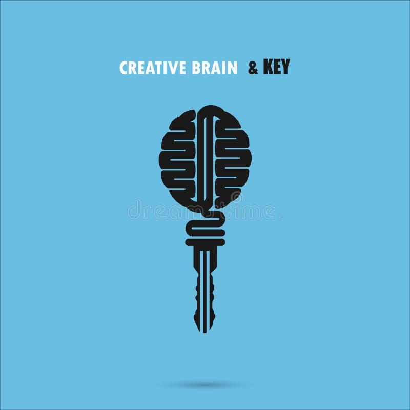Signe créatif de cerveau avec le symbole principal Clé de réussite illustration libre de droits