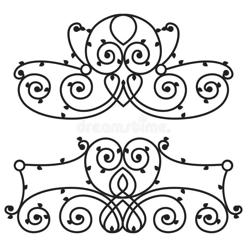 Signe décoratif de fer en métal de barrière d'élégance de rétro de style de remous de vintage de frontière conception calligraphi illustration de vecteur