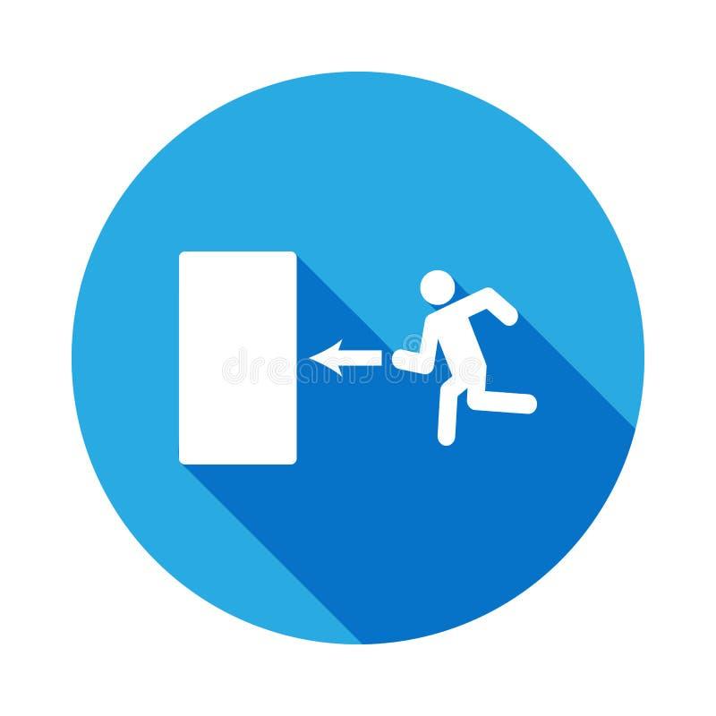 signe d'évacuation avec la longue icône d'ombre Élément d'icône de voyage pour les apps mobiles de concept et de Web L'icône déta illustration libre de droits