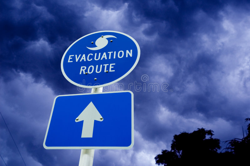 Signe d'évacuation d'ouragan image libre de droits