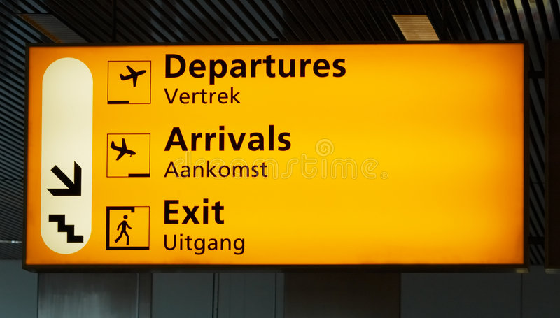 Signe d'aéroport photo stock