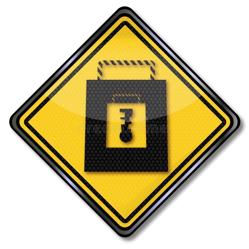 Signe d'achats avec un cadenas et des achats sûrs de moment illustration stock