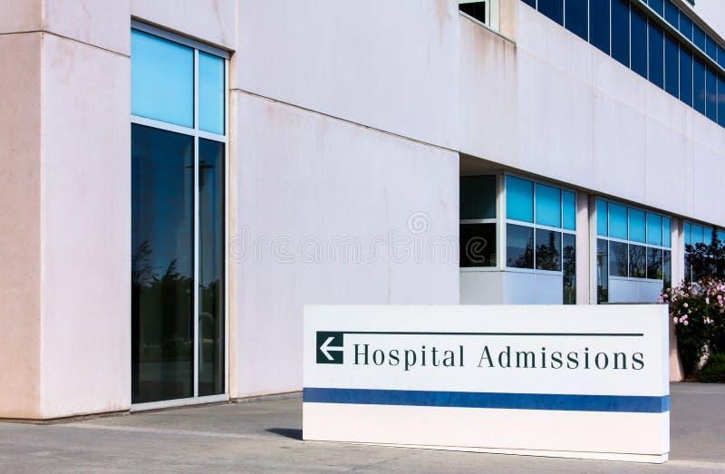 Signe d'admissions au hôpital photo libre de droits