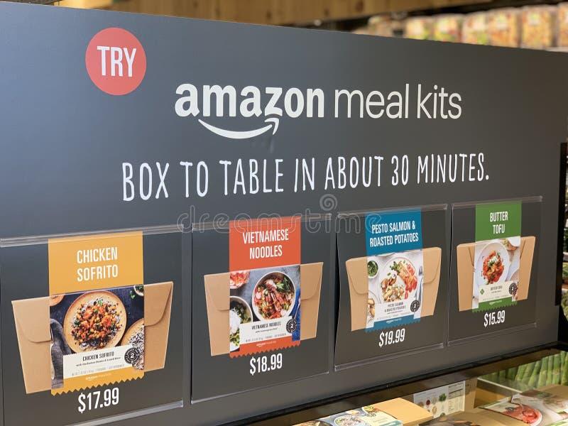 Signe d'affichage pour le kit de repas d'Amazone images stock