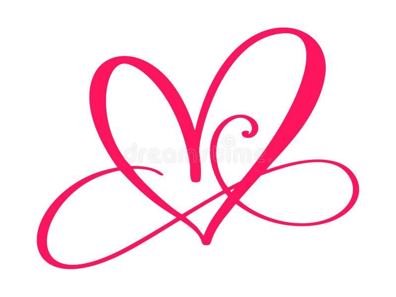 Signe d'amour de coeur pour toujours Le symbole romantique d'infini lié, se joignent, passion et mariage Calibre pour le T-shirt, illustration libre de droits