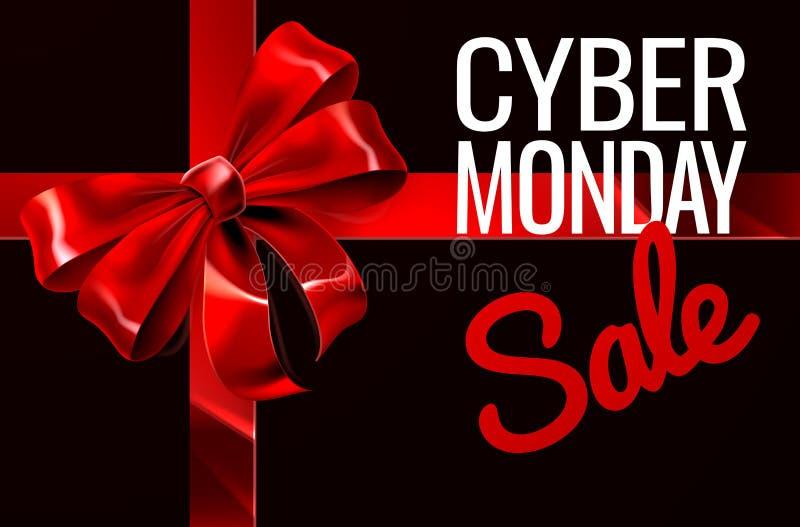 Signe d'arc de ruban de cadeau de vente de lundi de Cyber illustration de vecteur