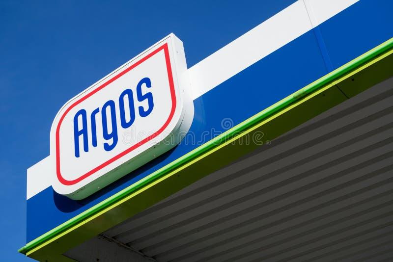Signe d'Argos à la station service photo libre de droits