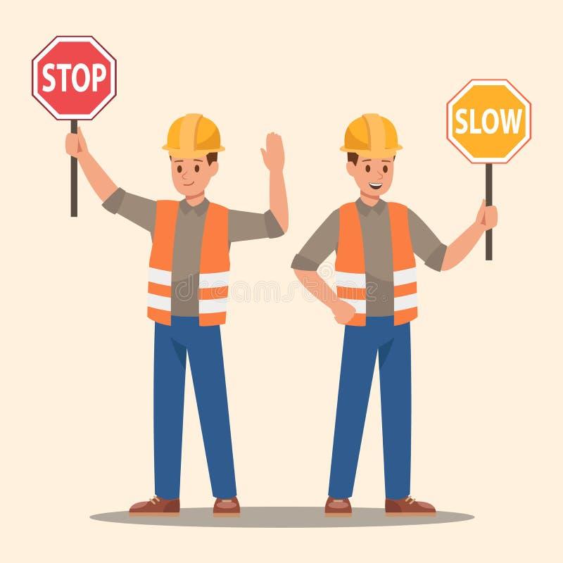 Signe d'arrêt de participation d'homme et signe lent Conception de vecteur illustration de vecteur