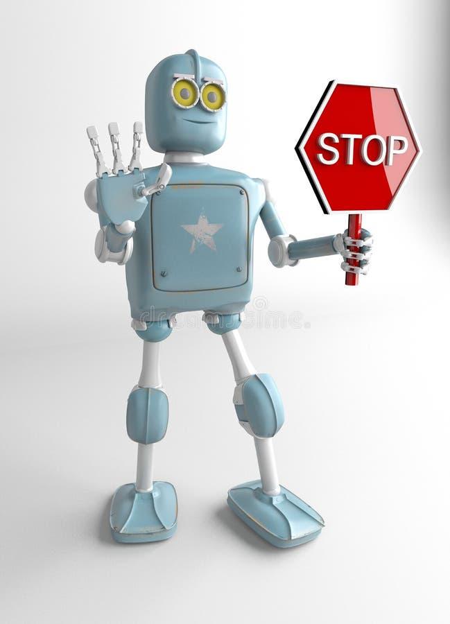 Signe d'arrêt de prise de robot, 3d rendre illustration libre de droits
