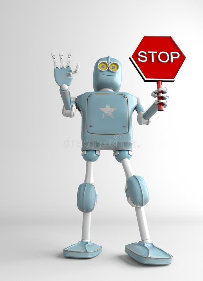 Signe d'arrêt de prise de robot, 3d rendre illustration stock