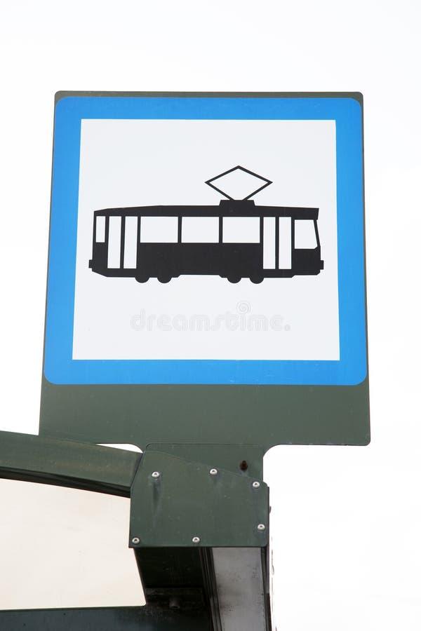 Signe d'arrêt de tram images libres de droits