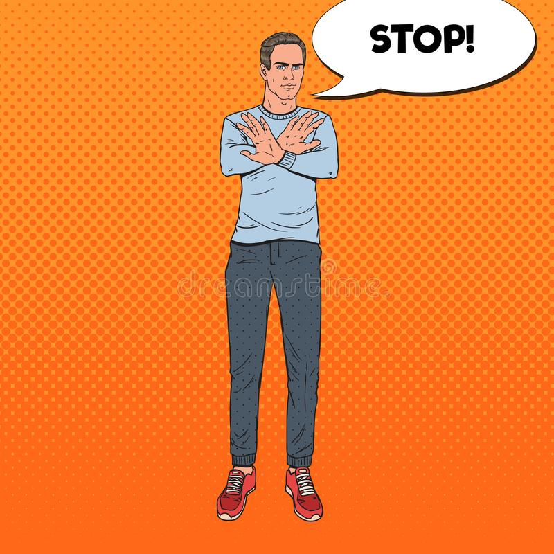 Signe d'Art Man Gesturing Stop Hand de bruit Guy Refusing de illustration de vecteur