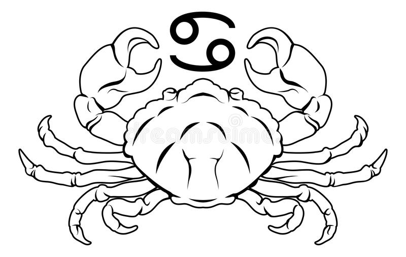 Signe d'astrologie d'horoscope de zodiaque de Cancer illustration stock