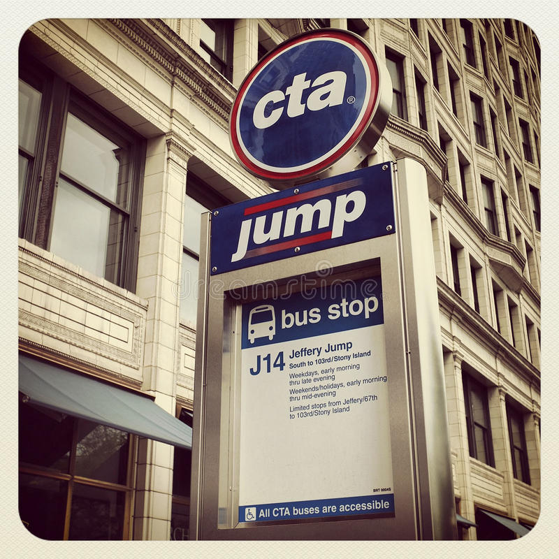 Signe d'autobus de Chicago CTA images stock