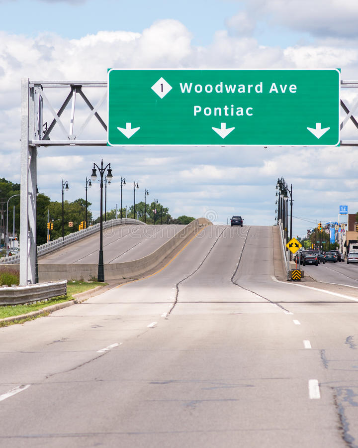 Signe d'avenue de Woodward, croisière de rêve de Woodward MI photographie stock libre de droits