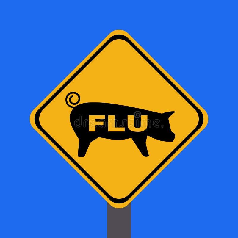 Signe d'avertissement de grippe de porcs illustration de vecteur
