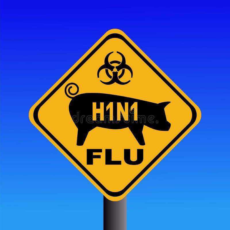 Signe d'avertissement de la grippe H1N1 de porcs illustration de vecteur