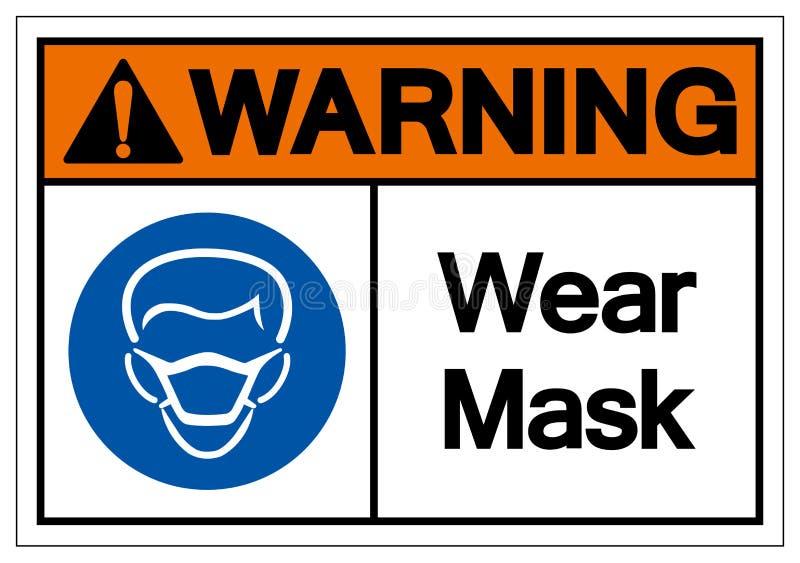Signe d'avertissement de symbole de masque d'usage, illustration de vecteur, isolat sur le label blanc de fond EPS10 illustration de vecteur
