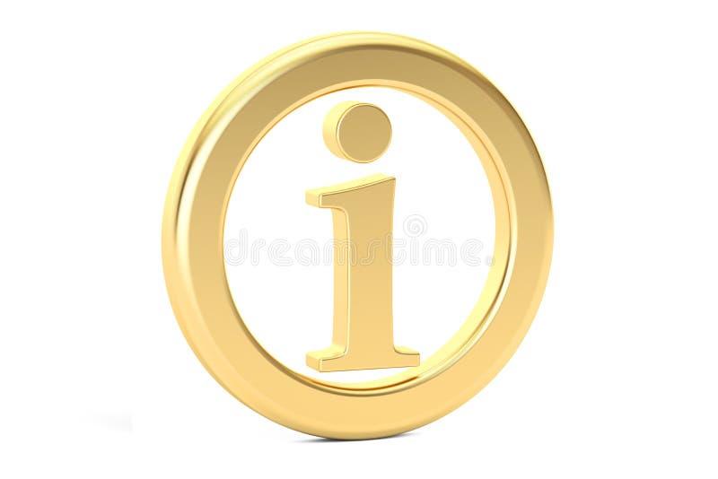 Signe d'or d'infos, symbole 3d illustration de vecteur