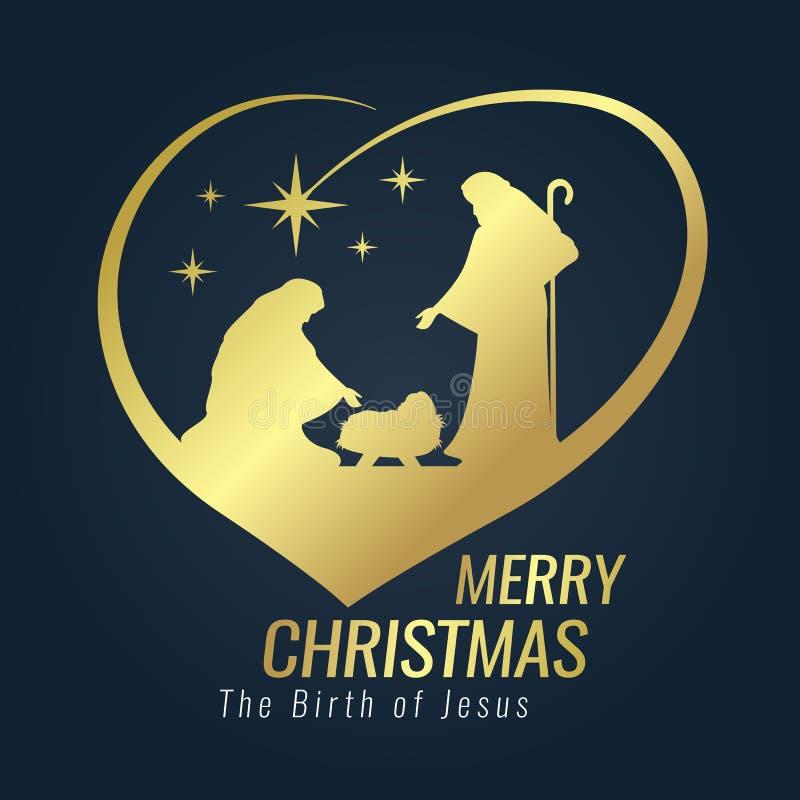 Signe d'or de bannière de Joyeux Noël avec le paysage nocturne Mary et Joseph de Noël dans une mangeoire avec le bébé Jésus et le illustration de vecteur
