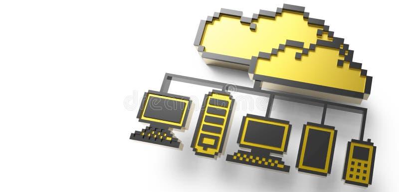Signe d'or de graphisme de réseau de nuage de Pixel illustration stock