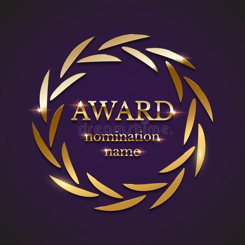 Signe d'or de récompense avec la guirlande de laurier de cercle d'isolement sur le fond pourpre Illustration de vecteur illustration libre de droits