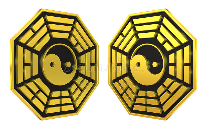 Signe d'or de symbole de Bagua Yin Yang illustration de vecteur