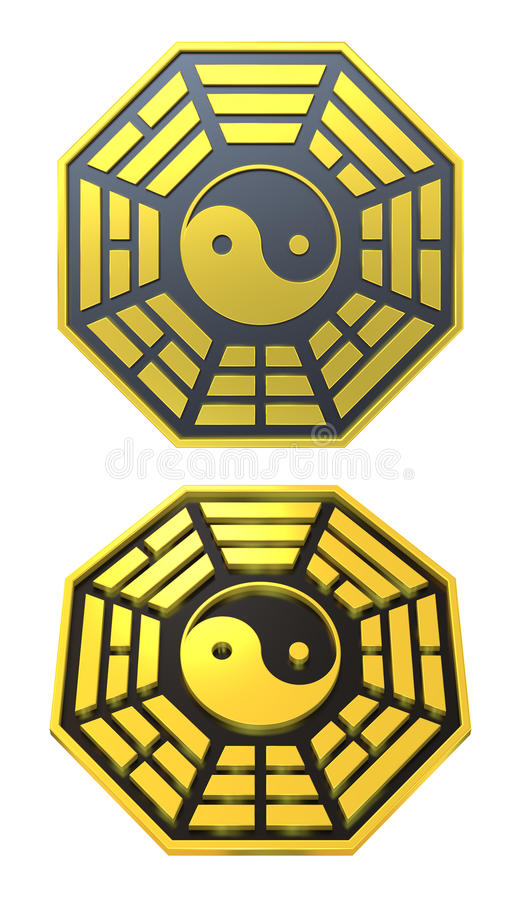 Signe d'or de symbole de Bagua Yin Yang illustration stock