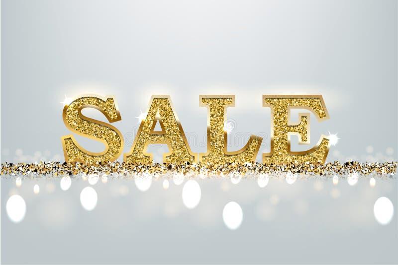 Signe d'or de vente Dirigez le mot d'or de luxe de vente sur le fond bleu-clair illustration stock
