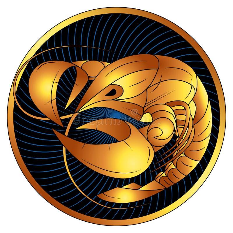 Signe d'or de zodiaque de Cancer, symbole d'horoscope de vecteur illustration de vecteur