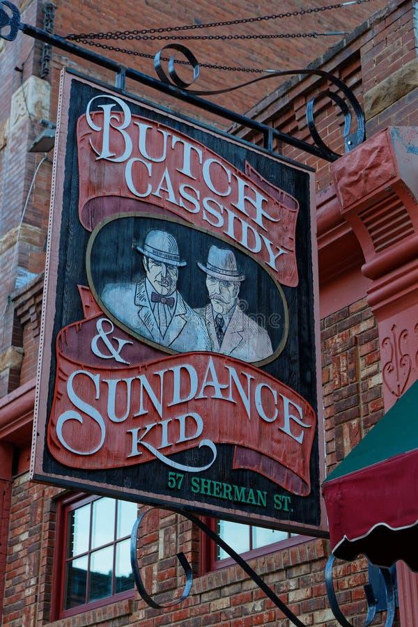 Signe d'enfant de Butch Cassidy et de Sundance photo stock