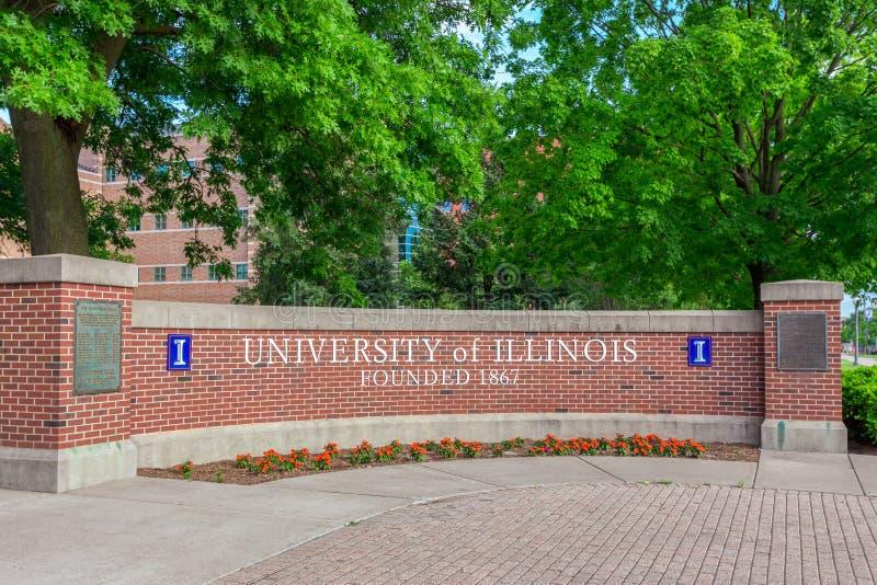 Signe d'entrée à l'ersity d'Univ de l'Illinois photographie stock