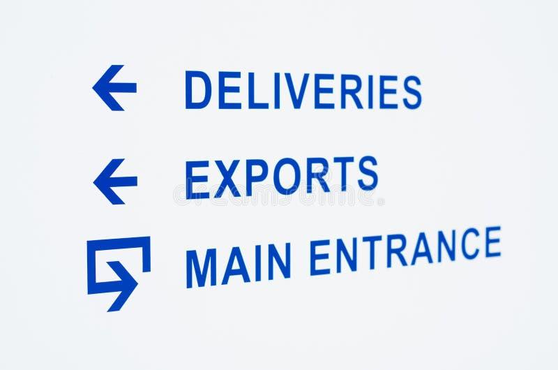 Signe d'entrée d'entrepôt photo libre de droits