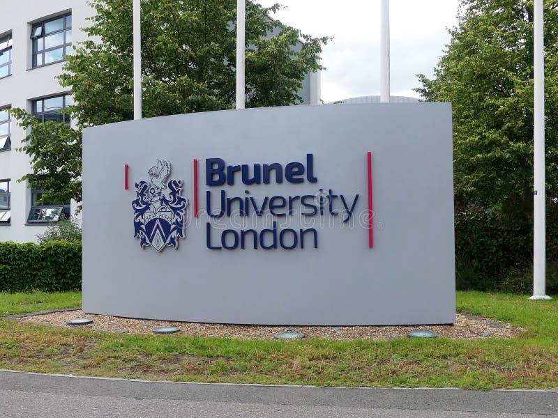 Signe d'entrée de Londres d'université de Brunel chez Kingston Lane, Uxbridge image stock