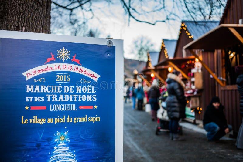 Signe d'entrée de marché de Noël de Longueuil photographie stock