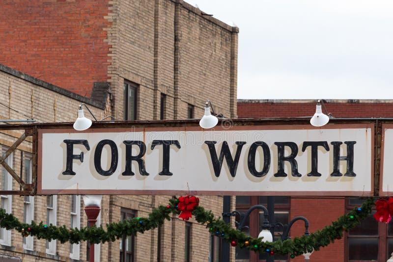 Signe d'entrée de parc à bestiaux de Fort Worth photos stock