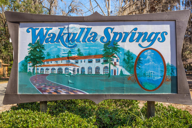 Signe d'entrée de parc d'Edward Ball Wakulla Springs State, la Floride photo libre de droits