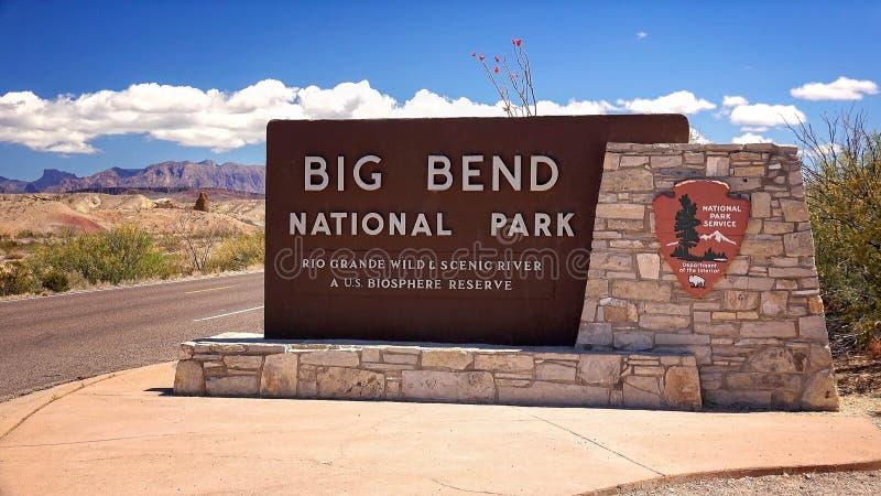 Signe d'entrée de parc national de grande courbure photo libre de droits