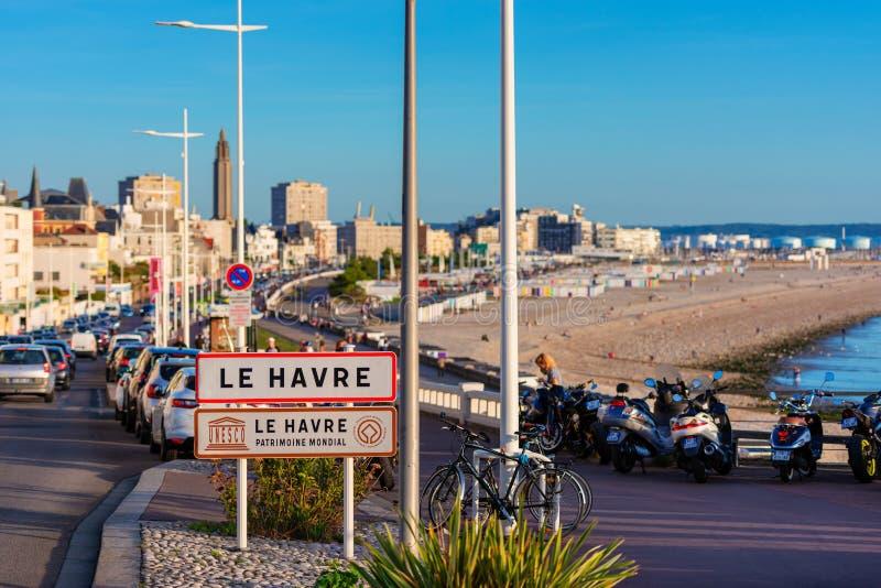Signe d'entrée vers le Havre Normandie France images libres de droits