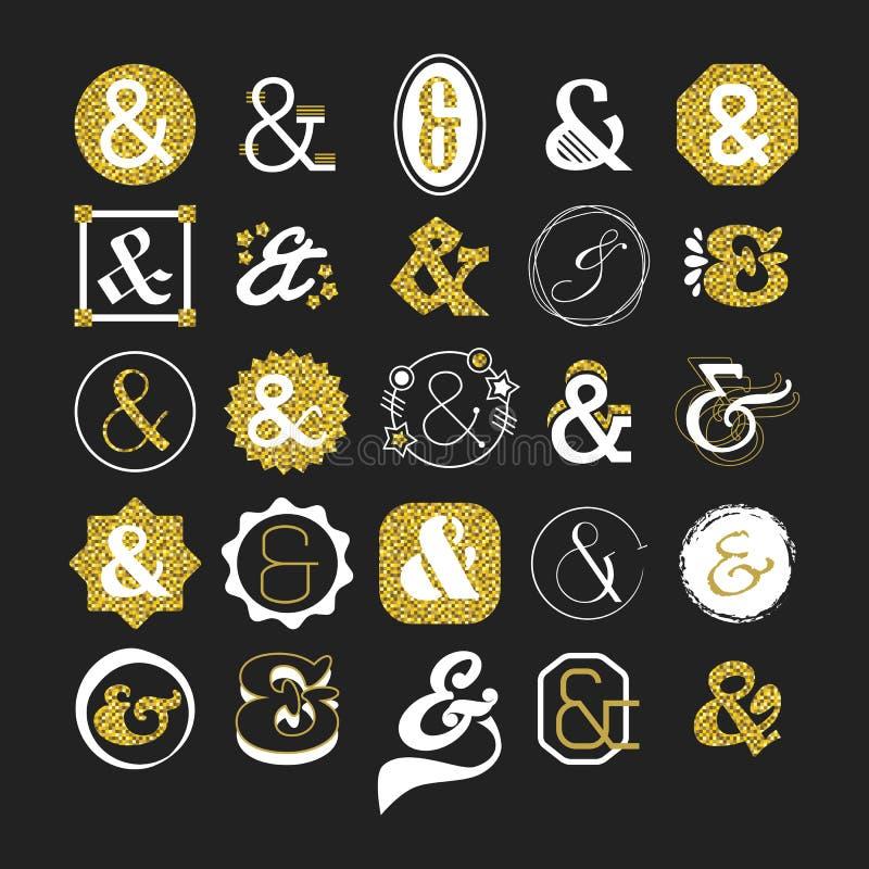 Signe d'esperluète et ensemble d'éléments stylisés d'or et blancs de conception de symbole illustration de vecteur