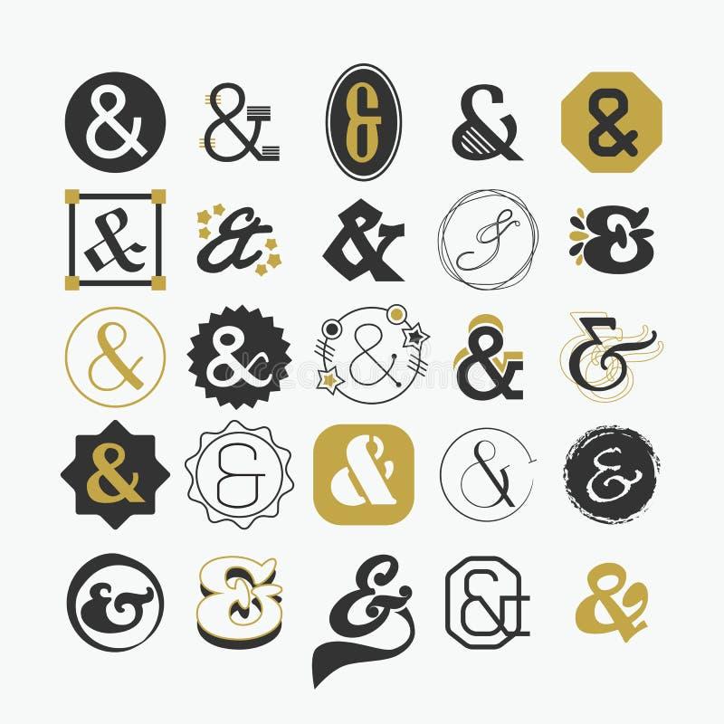 Signe d'esperluète et ensemble d'éléments de conception de symbole illustration stock