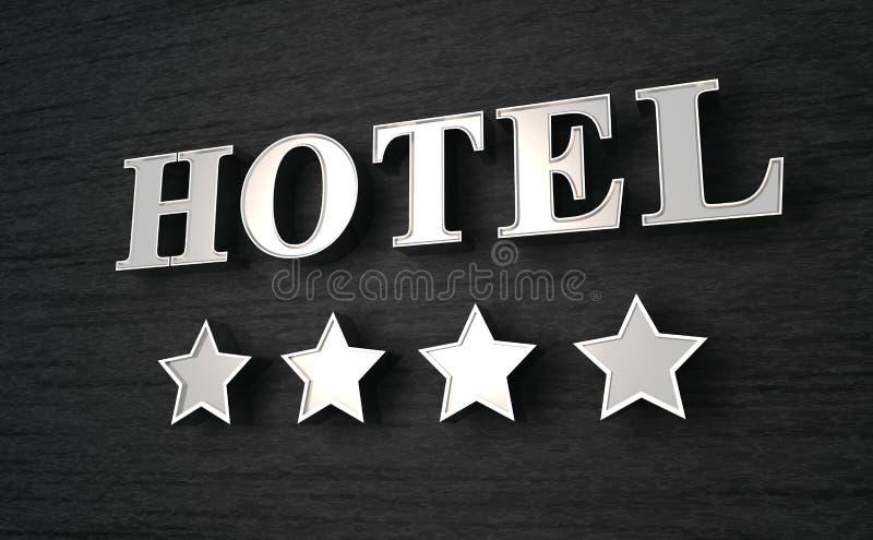 Signe d'hôtel à quatre étoiles illustration libre de droits
