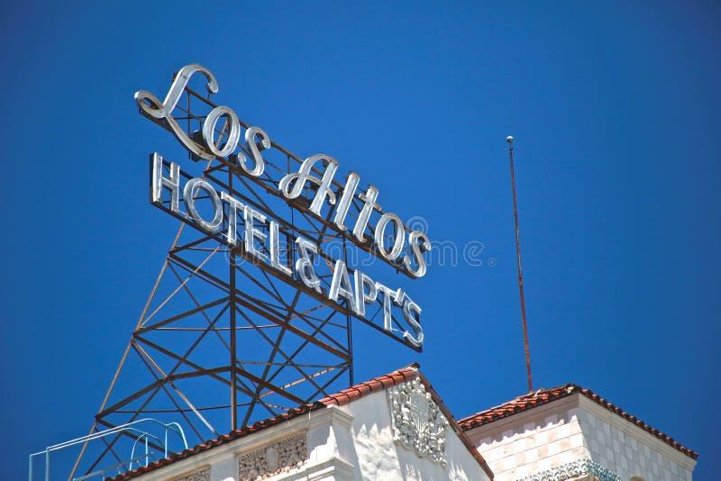 Signe d'hôtel d'altos de visibilité directe photographie stock libre de droits