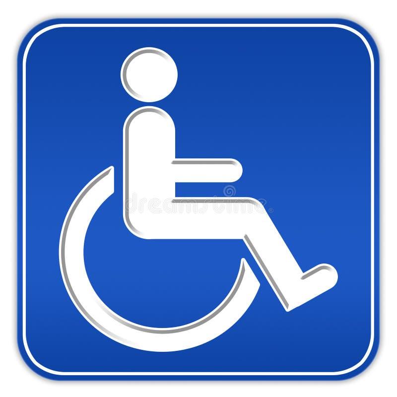 Signe d'handicap avec le fauteuil roulant illustration de vecteur