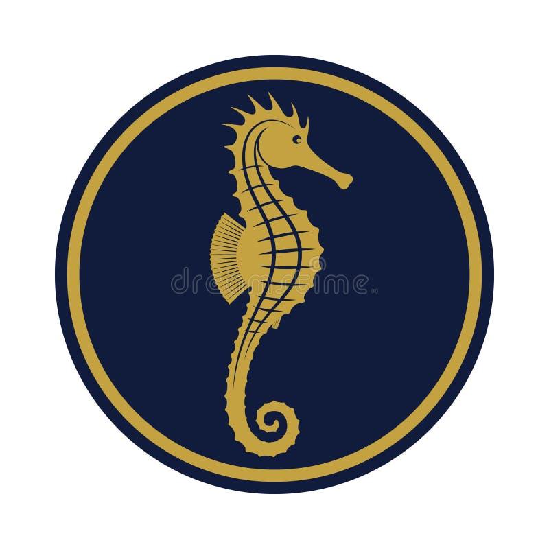 Signe d'or d'hippocampe illustration stock