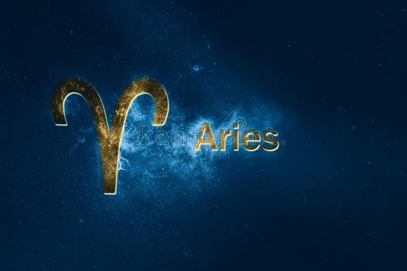 Signe d'horoscope de Bélier Fond abstrait de ciel nocturne illustration stock