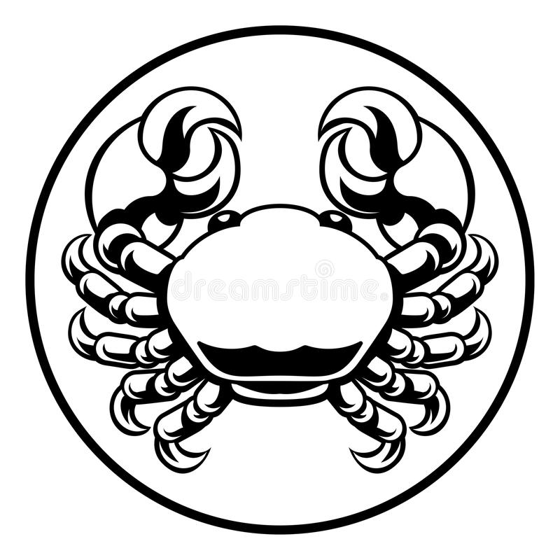 Signe d'horoscope de zodiaque de Cancer de crabe illustration de vecteur