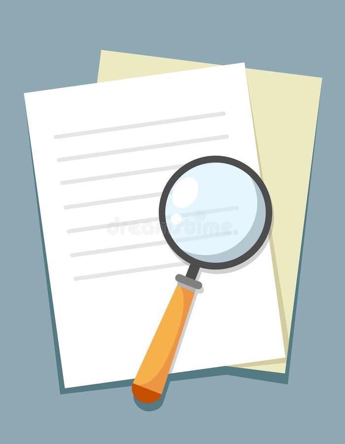 Signe d'icône-vitesse de recherche de loupe avec des documents, illustration-bourdonnement de signe-recherche de loupe Vecteur illustration libre de droits